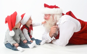 Картинка christmas, happy, holidays, merry, children, santa, claus, interview, new year