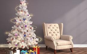 Картинка шарики, игрушки, кресло, свечи, Новый Год, подарки, ёлка, гирлянда, коробки, 3D