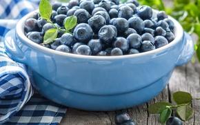 Картинка черника, миска, листики, leaves, салфетка, blueberries, bowl, свежие ягоды, napkin, fresh berries