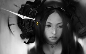 Картинка девушка, стиль, фантастика, рисунок, арт, ч.б, by drigzabrot, maddona moderna