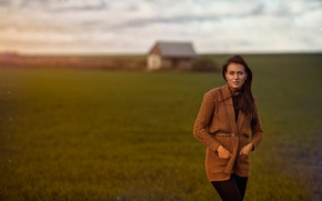 Картинка девушка, пейзаж, дом, фон, обработка, боке, фильтр