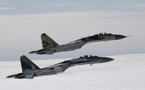 Обои Небо, Облака, Самолет, Полет, Истребитель, Высота, Су-35