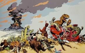 Картинка вулкан, извержение, динозавры, мамонт, кадиллак, Cadillacs, Mark Schultz, Dinosaurs