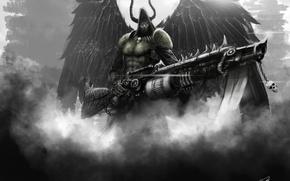 Картинка оружие, крылья, арт, капюшон, рога, мужчина, огнемет, angel of death
