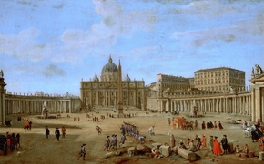 Картинка пейзаж, город, люди, картина, площадь, Рим, Ватикан, Gaspar van Wittel, Saint Peter's Basilica in Rome