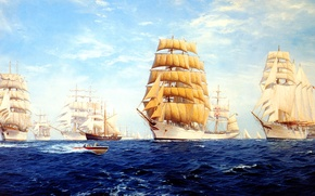 Картинка море, волны, небо, облака, корабль, парусник, парад, J. Steven Dews