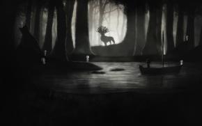Картинка ночь, река, мальчик, олень, арт, Limbo