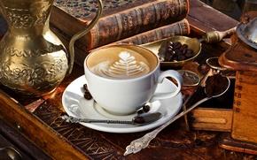 Картинка пена, узор, книги, кофе, зерна, чашка, напиток, капучино, блюдце, шкафчик, лопатка, ложки, молотый, латте-арт