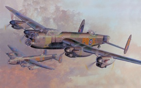 Картинка Рисунок, Бомбардировщик, Тяжёлый, Lancaster B, Avro Aircraft. Typ 683, Четырёхмоторный, Британский, Mk. 1, Royal Air ...