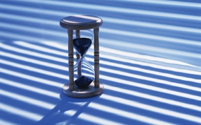 Обои часы, голубой, песок