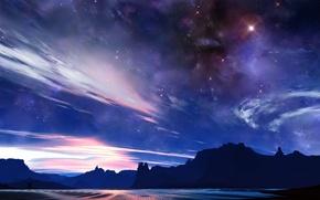 Обои небо, скалы, свет