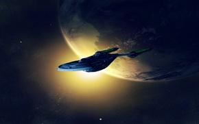Картинка свет, планета, Космический корабль, Star trek