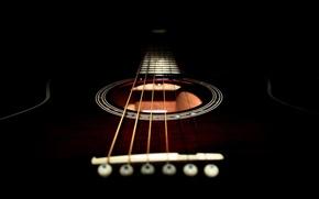Обои гитара, струны, черный