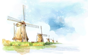 Картинка вода, облака, рисунок, мельница