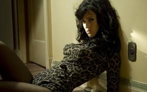 Обои комната, поза, взгляд, Katy Perry, дверь, певица, на полу, розетка, кэти перри