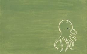 Обои осьминог, рисунок, зеленый
