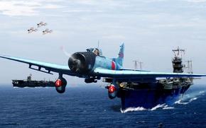 Картинка авианосец, Тип 99, Aichi, японский палубный пикирующий бомбардировщик, D3A, Val