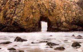 Обои вода, скалы, пейзажи, дыра, гроты, дыры, брызги