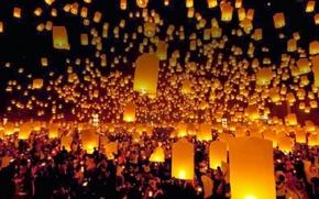 Картинка ночь, огоньки, фонарики
