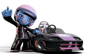 Картинка машина, гонки, шлем, пилот, ModNation Racers, PSP, PlayStation Portable