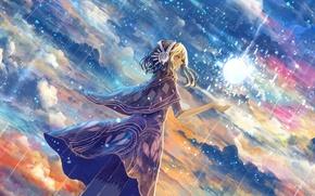Картинка небо, девушка, облака, дождь, магия, аниме, арт, bounin