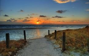 Картинка песок, море, пляж, небо, солнце, пейзаж, закат, природа, океан, рассвет, beach, sky, sea, ocean, landscape, ...