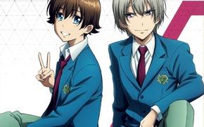 Картинка голубые глаза, двое, школьники, kakumeiki valvrave, l-elf karlstein, haruto tokishima