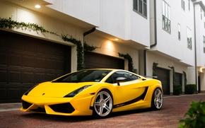 Картинка здание, Lamborghini, Superleggera, Gallardo, жёлтая, ламборджини, yellow, гаражи, ламборгини, галлардо, суперлегера