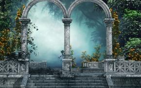 Картинка деревья, цветы, туман, парк, настроение, арка, ступени, art