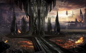 Картинка город, будущее, огонь, транспорт, корабли, арт, сооружения, гигантские