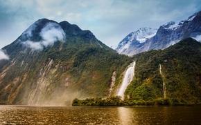 Обои горы, природа, водопад, фото, пейзаж, лес