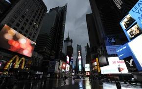 Картинка тучи, ураган, небоскрёбы, Sandy, New York, Times Square