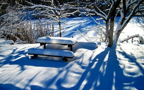 Картинка зима, снег, стол, дерево, двор, скамья
