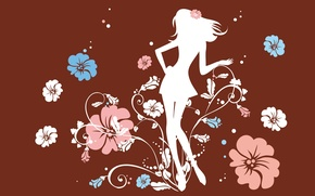 Обои девушка, цветы, настроение