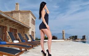 Обои поза, причёска, фигура, ситуация, heels, ножки, face, девушка, Kristina Uhrinova, Melisa Mendiny, грудь, туфли, красавица, ...