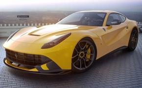 Картинка Ferrari, Front, Yellow, Supercar, Berlinetta, F12, Jackdarton