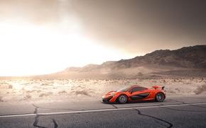 Картинка McLaren, Orange, Front, Storm, Road, Supercar, Desert