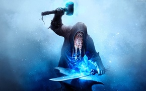 Картинка metal, sword, magic, gloves, hammer, dwarf, beard, blue particles, tongs, blue fire, layer, blacksmith, anvil