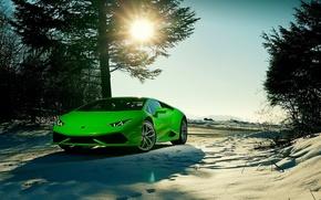 Картинка Lamborghini, Sky, Green, Front, Sun, Color, Snow, Beauty, Supercar, 2015, Huracan, Ligth, LP640-4