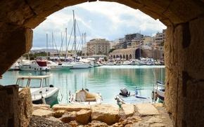 Картинка яхты, лодки, Греция, гавань, harbour, Greece, Heraklion, Ираклион
