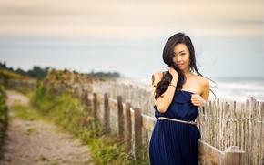 Картинка дорога, пляж, девушка, забор, платье, girl, азиатка, beach, photographer, model, asian, blue dress, Betty, Christopher …