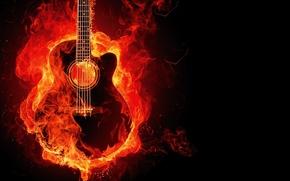 Обои Гитара, фон, огонь