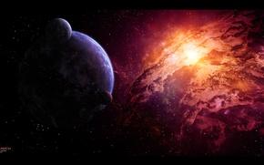 Картинка звезды, туманность, планета, астероиды, спутники, nebula