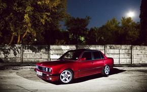 Обои стена, дерево, бмв, звёзды, BMW, red, красная, E30, Sedan, 3 Series