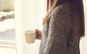 Обои девушка, кружка, чашка, свитер