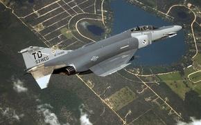 Картинка F-4, ВВС США, истребитель-бомбардировщик, Phantom II, Douglas, McDonnell, истребитель-перехватчик, самолёт наземной поддержки третьего поколения