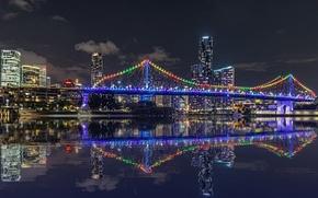 Картинка ночь, огни, отражение, река, небоскребы, подсветка, Австралия, мегаполис, Брисбен, Квинсленд, Story-bridge