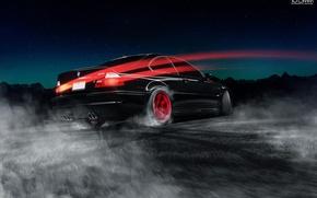 Картинка BMW, Red, Car, E46, Road, Wheels, Drifting
