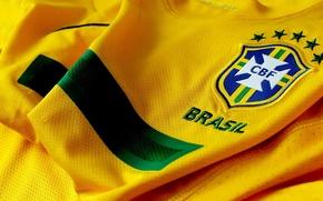 Обои Футболка, желтый цвет, Brasil, Бразилия