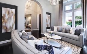 Картинка дизайн, стол, диван, вилла, подушки, окно, шторы, роскошь, Design, гостиная, Interior, Living
